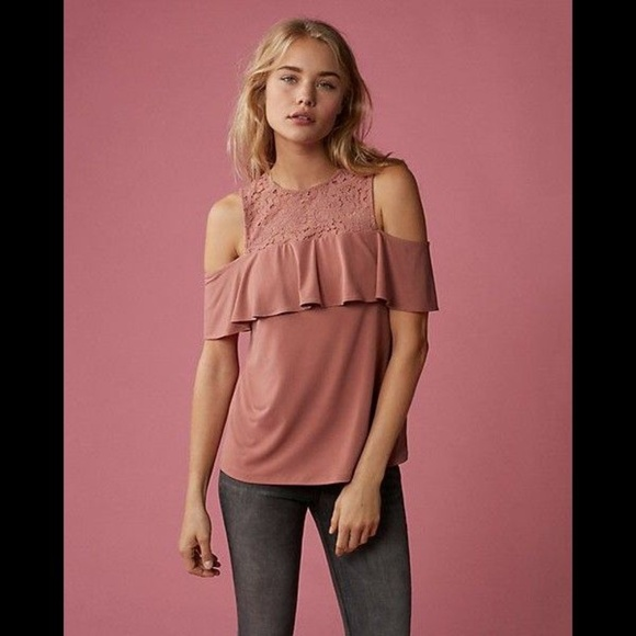Express Tops - Express Cold Shoulder Lace Ruffle Top XS